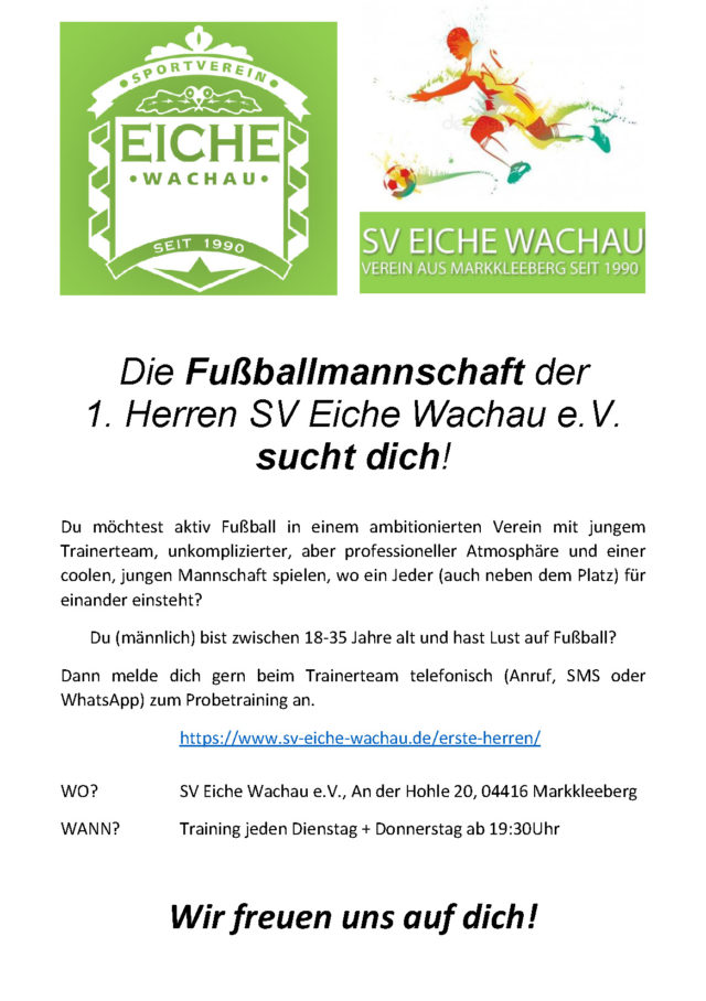 1. Herren SV Eiche Wachau e.V. sucht dich!